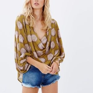 Free People Cowling Around Cowl Neck Blouse Green